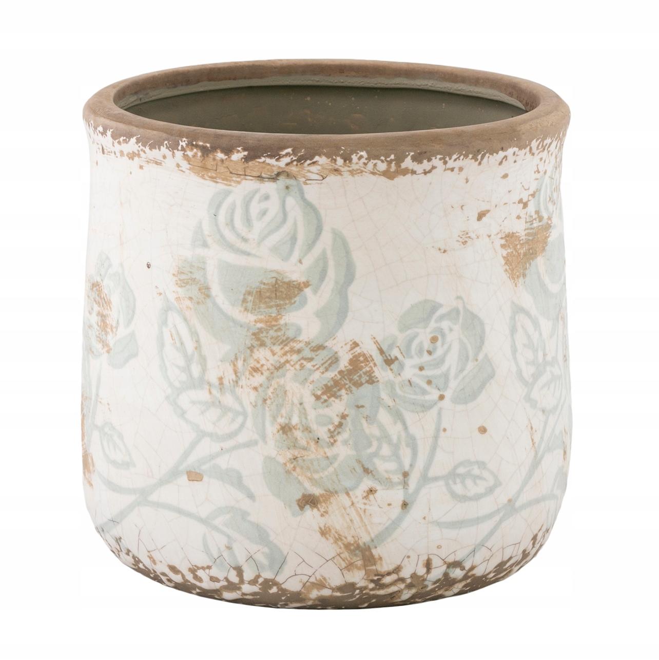 Kvetináč s ružami v retro štýle keramiky 15x15cm