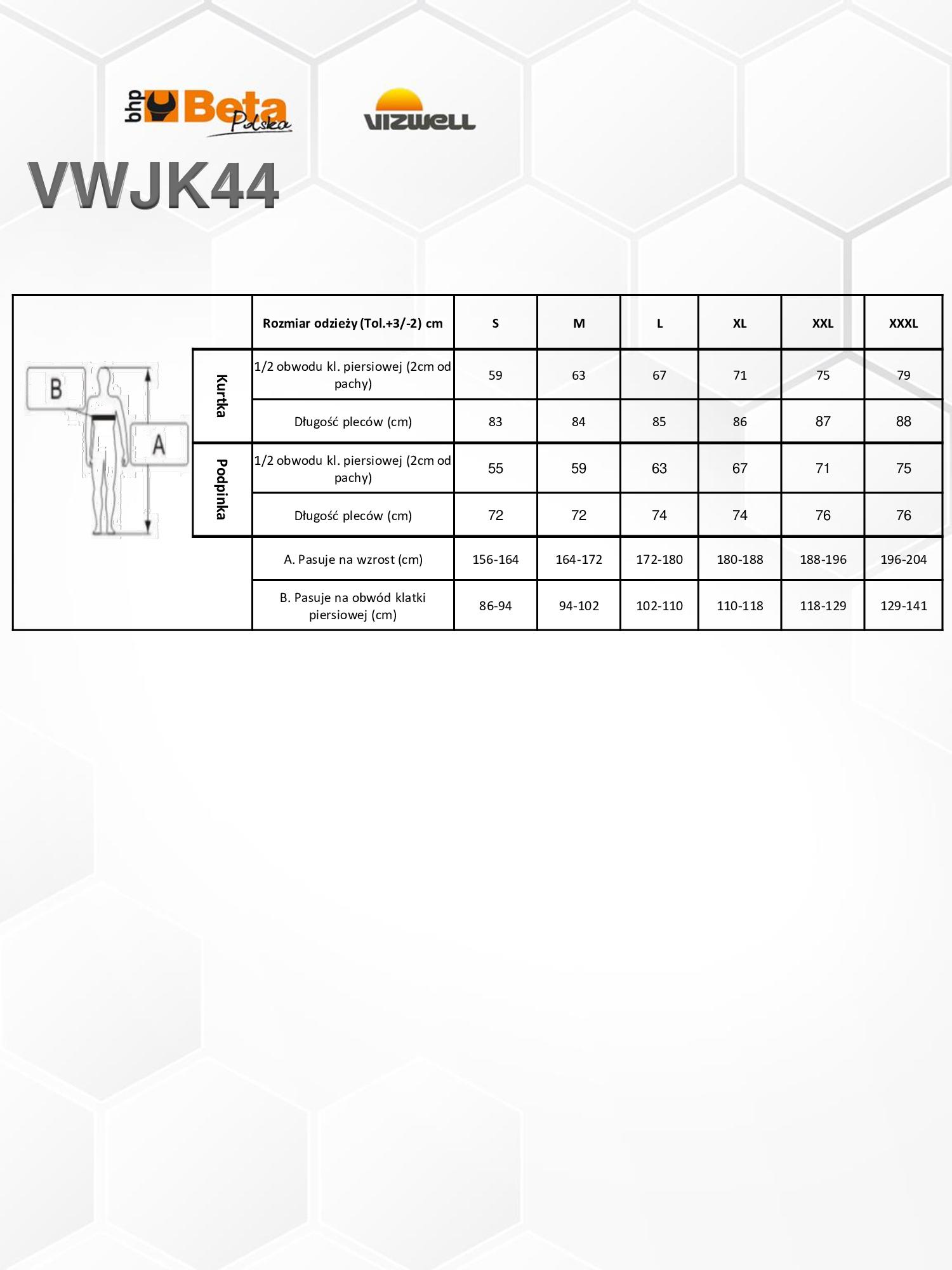 KURTKA OSTRZEGAWCZA 7 W 1 BETA VIZWELL VWJK44 Cechy dodatkowe odzież odblaskowa odzież wodoodporna odzież ocieplana
