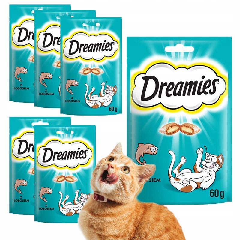 DREAMIES Деликатес с ЛОСОСЕМ для кошки 6 х 60г