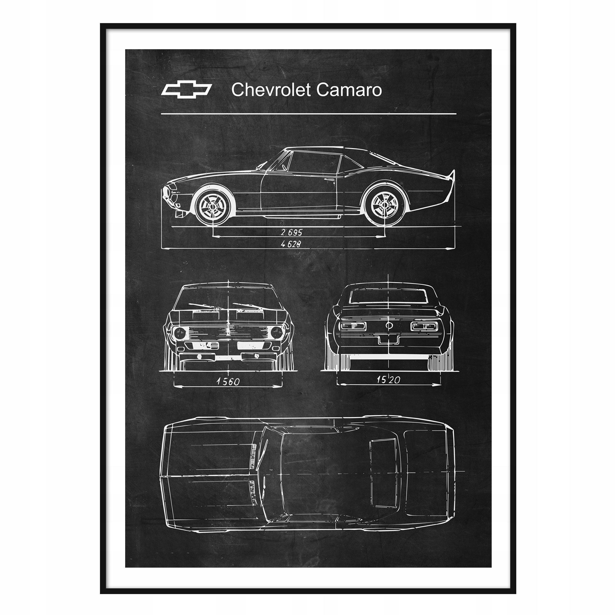 Plagát, Chevrolet Camaro Retro-Patent Schémy
