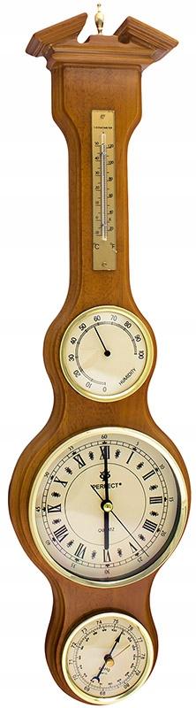 PW-985 Perfektné drevené hodiny RETRO meteorologická stanica