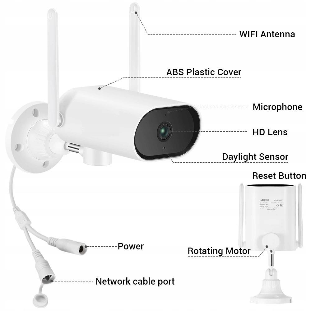 Zestaw Monitoringu 6 Kamer Zewnętrznych obrotowych Kod producenta 2020