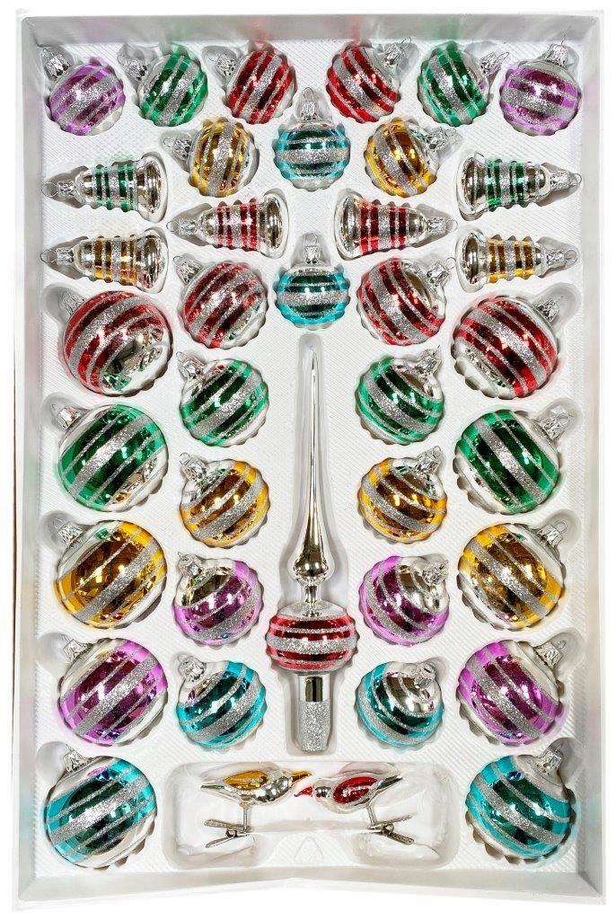 Vianočné gule - Sada 39 rôznofarebných pruhov