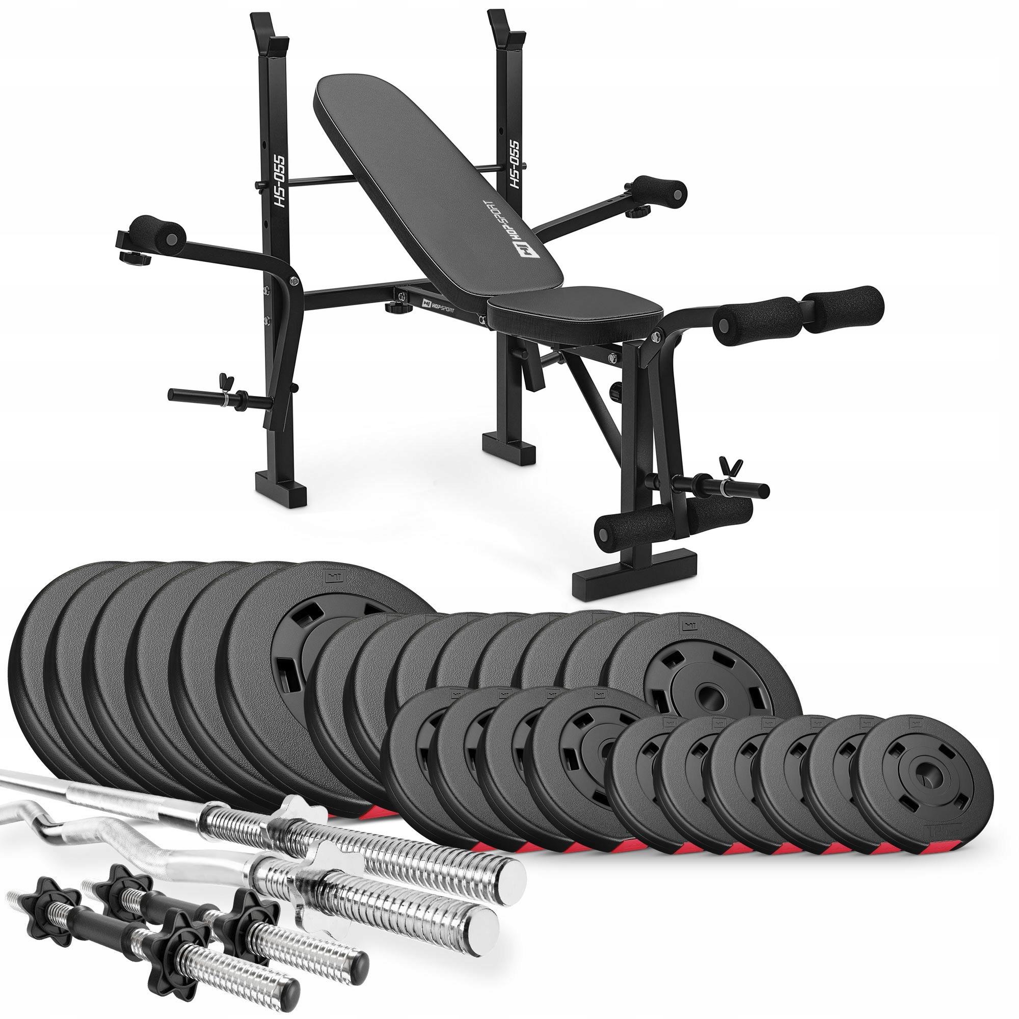 Zestaw obciążeń kompozytowych 135kg z ławką