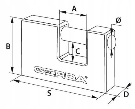 Kłódka GERDA Żeliwna 80mm Utwardzany Trzpień T80 Rodzaj kłódki Na klucz