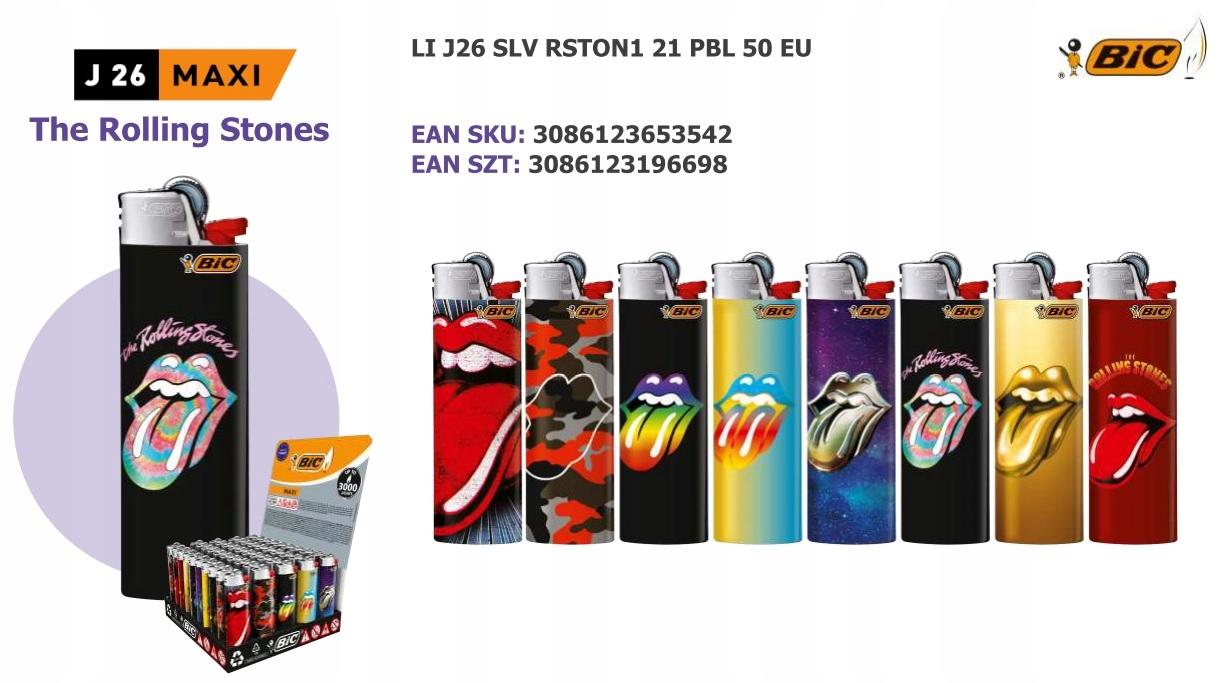 Прикуриватель BIC J26 MAXI 50 шт. - ROLLING STONES бренд BIC