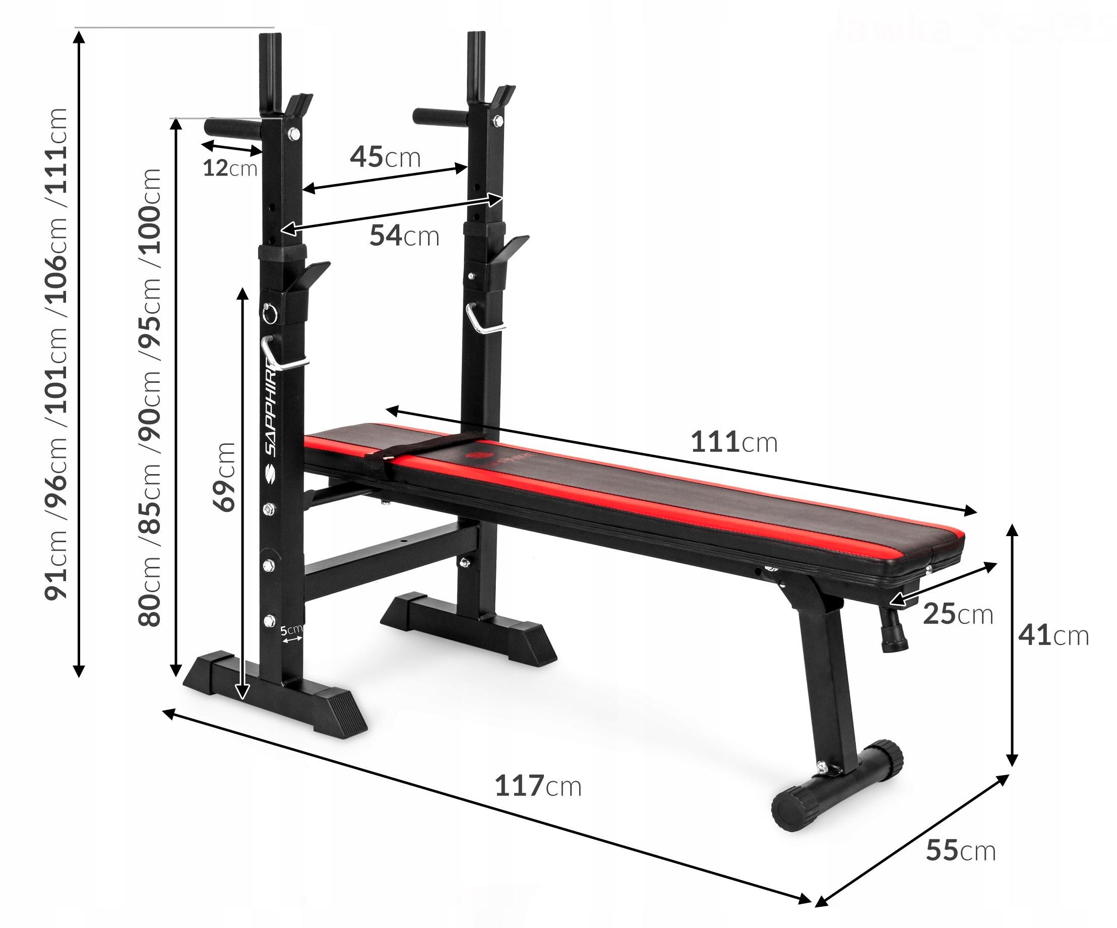 XYLO siłownia 82 kg zestaw ŁAWKA+GRYFY+OBCIĄŻENIA Waga produktu z opakowaniem jednostkowym 82 kg