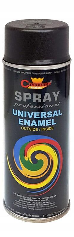 Краска эмаль спрей uni 400ml RAL9005 черный матовый