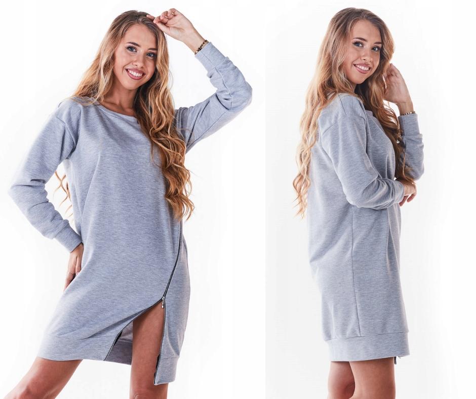 Luźna sukienka dresowa oversize z zamkiem S/m