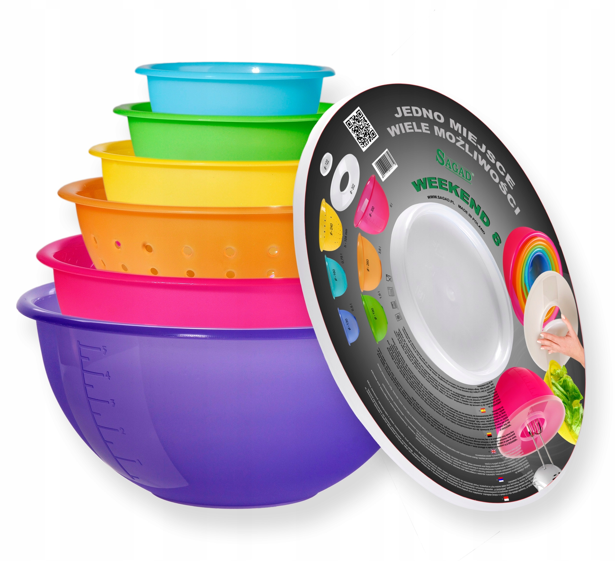 Zestaw misek kuchennych plastikowych 8 el