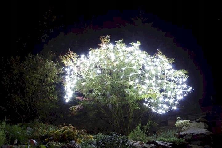 Mriežka na žiarovky LED sieť 3x3 m 128 LED biela