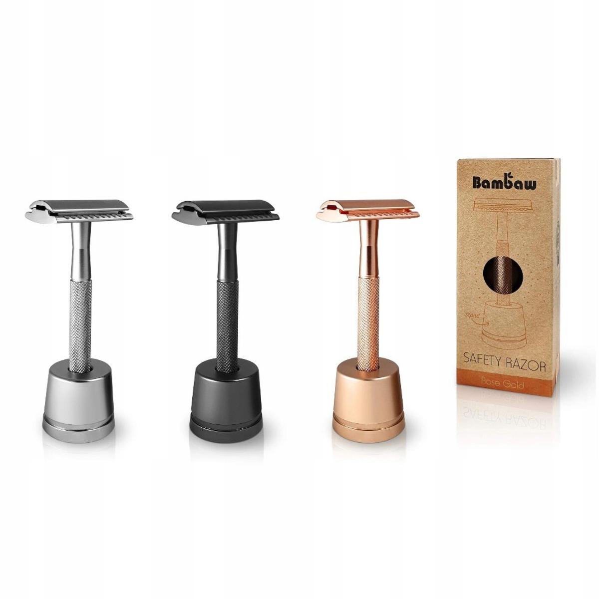 Maszynka do golenia żyletka+stojak czarna BAMBAW Kod producenta 2509