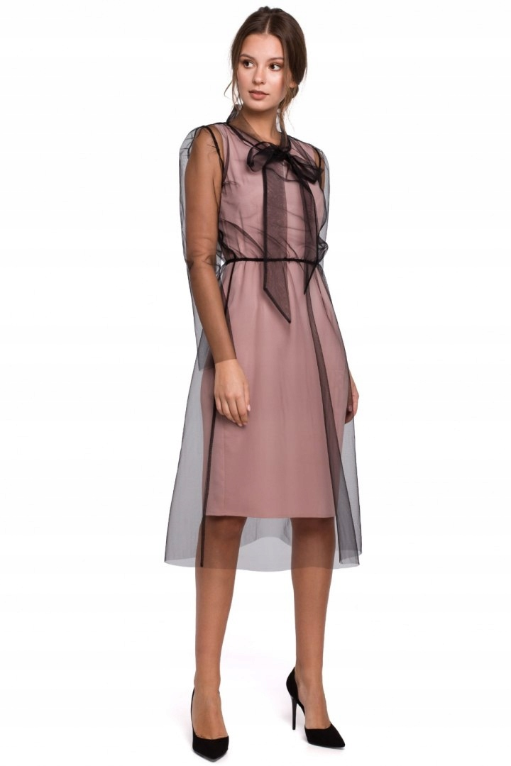 K039 Tiulowa sukienka z wiązaniem Pudrowa 36 S