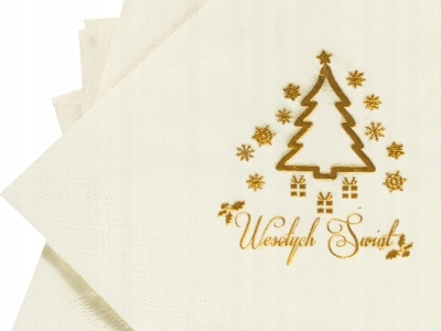 Serwetki Białe z choinką Świąteczne Wigilia Święta
