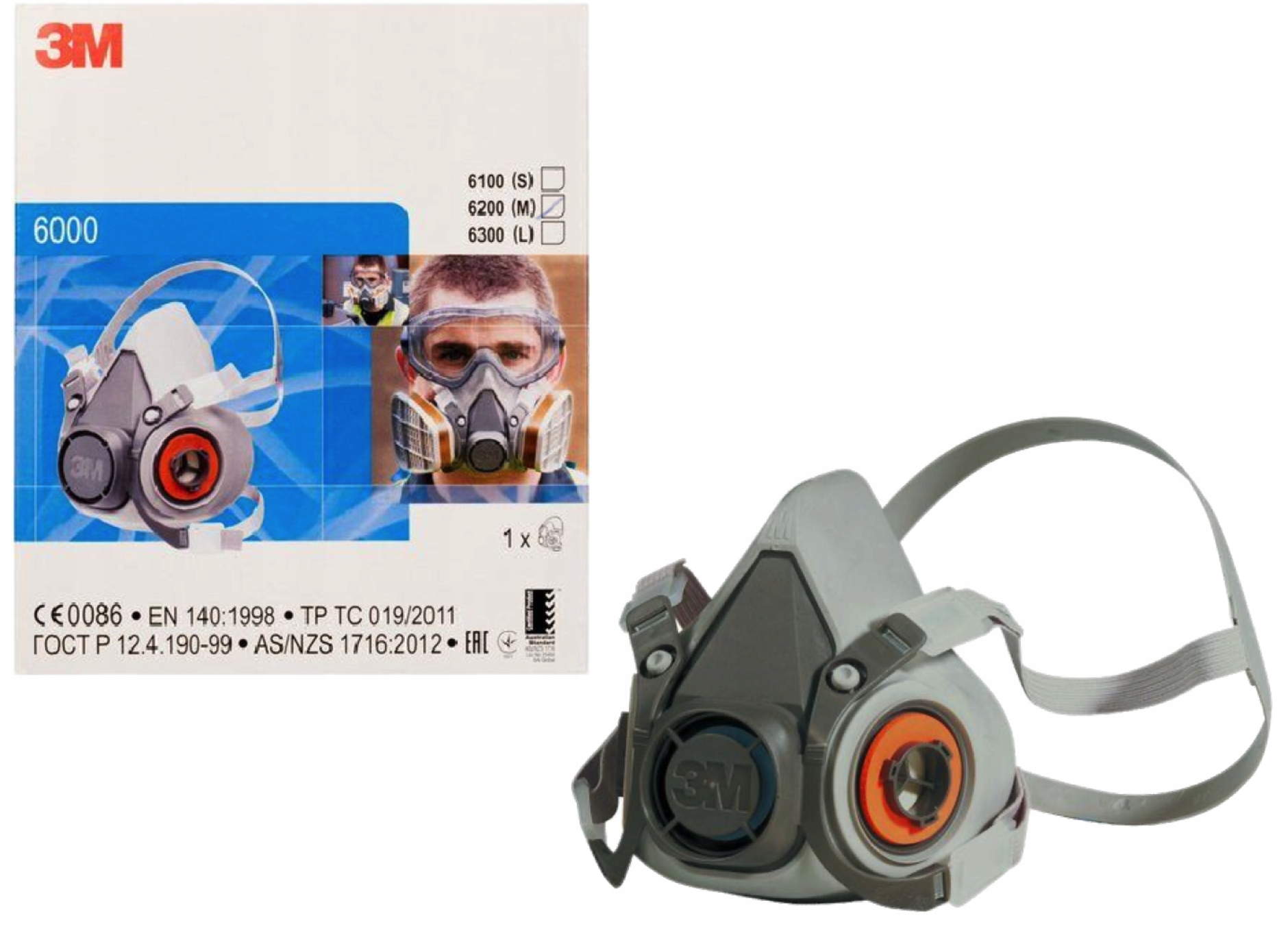 3M Półmaska маска защитная краска 6200 M EU