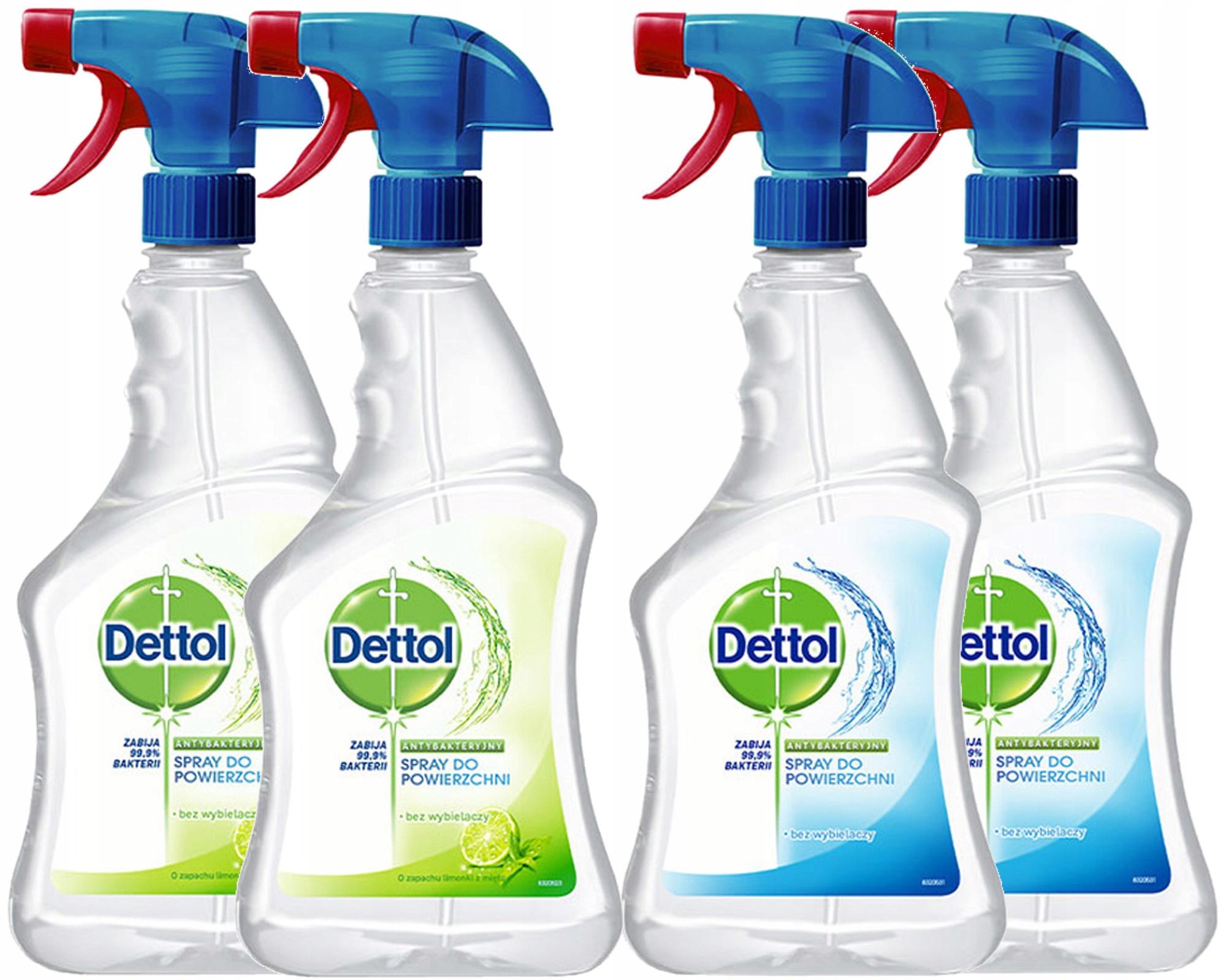Dettol Antybakteryjny Spray Mix Zestaw 4 x 500ml