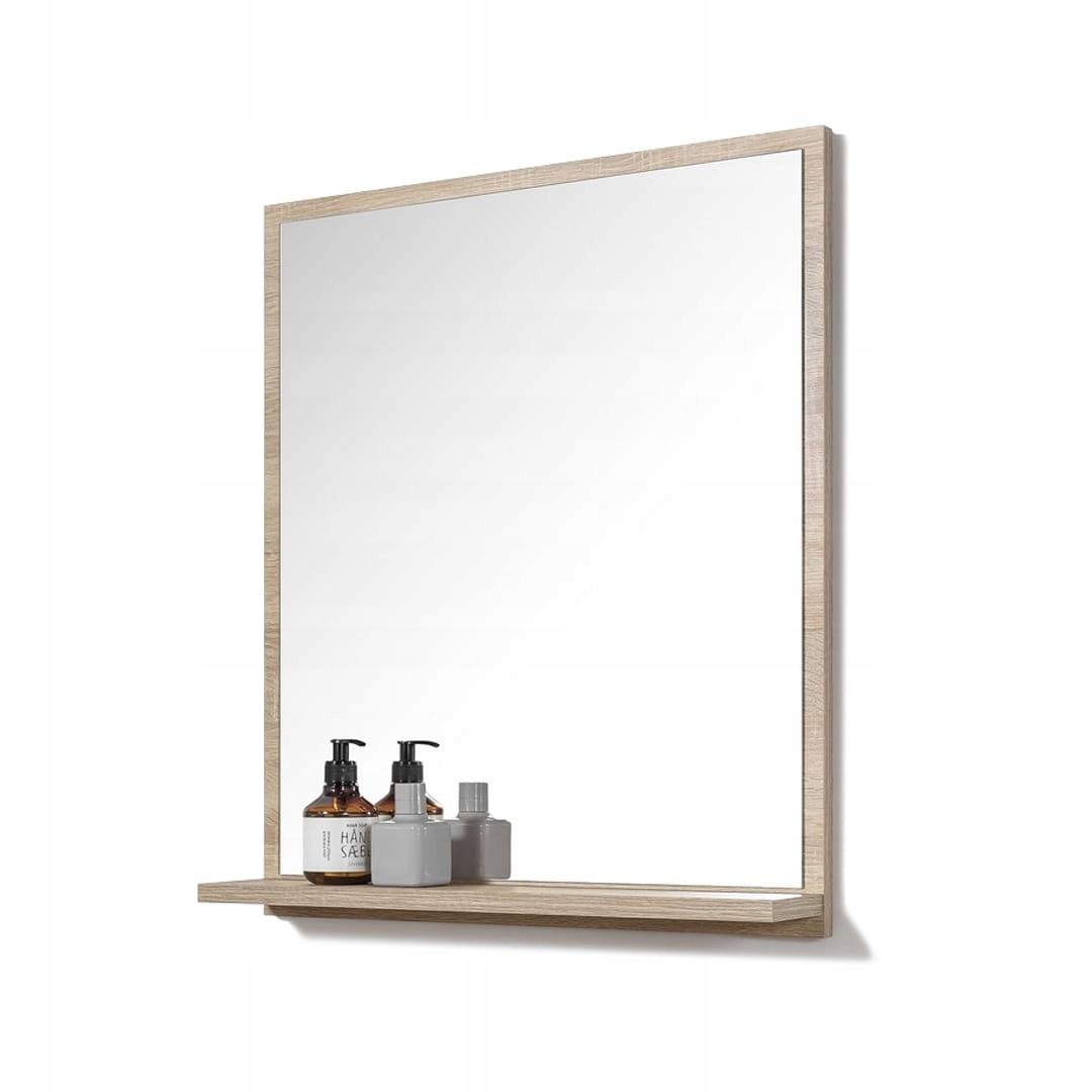 LUSTRO z półką do łazienki łazienkowe 60x70 cm dąb