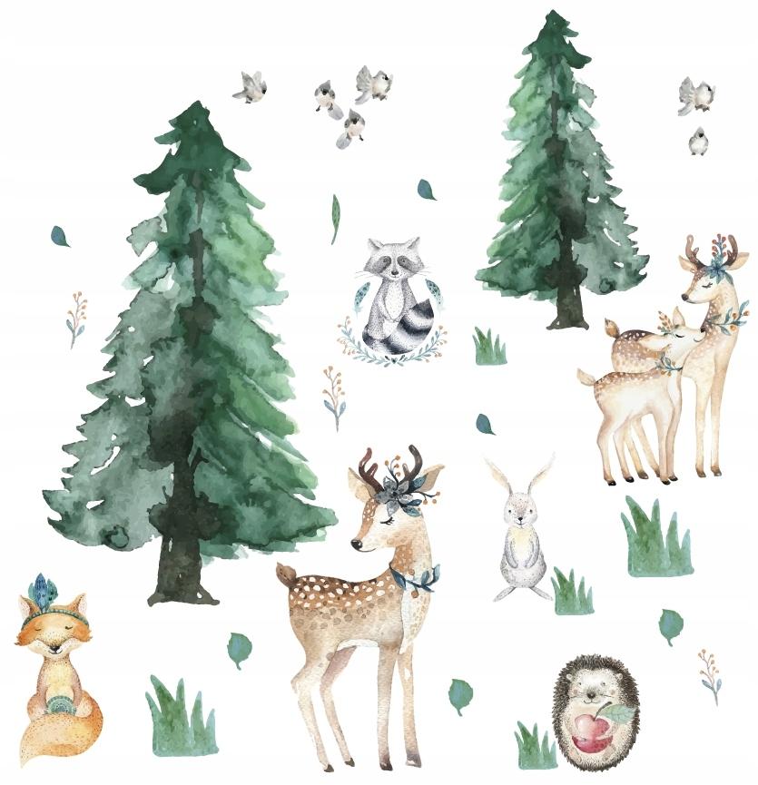 Naklejki na ścianę dla dzieci Zwierzęta Leśne Las