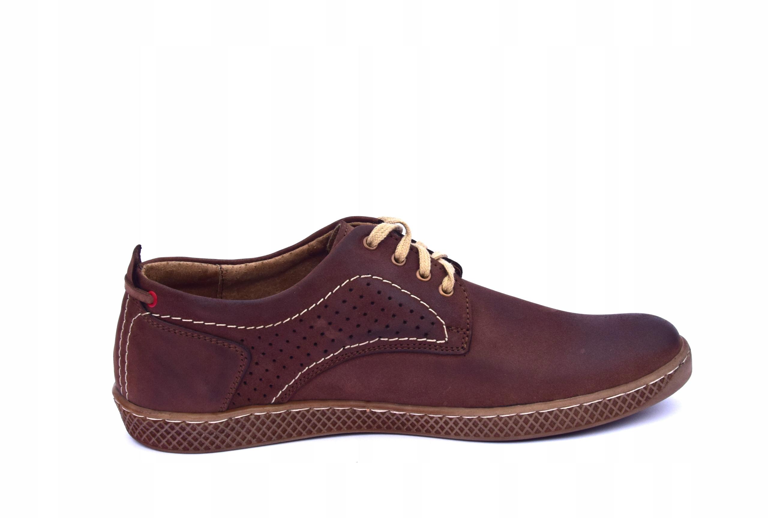 Półbuty skórzane męskie brązowe buty polskie 302 Rozmiar 41
