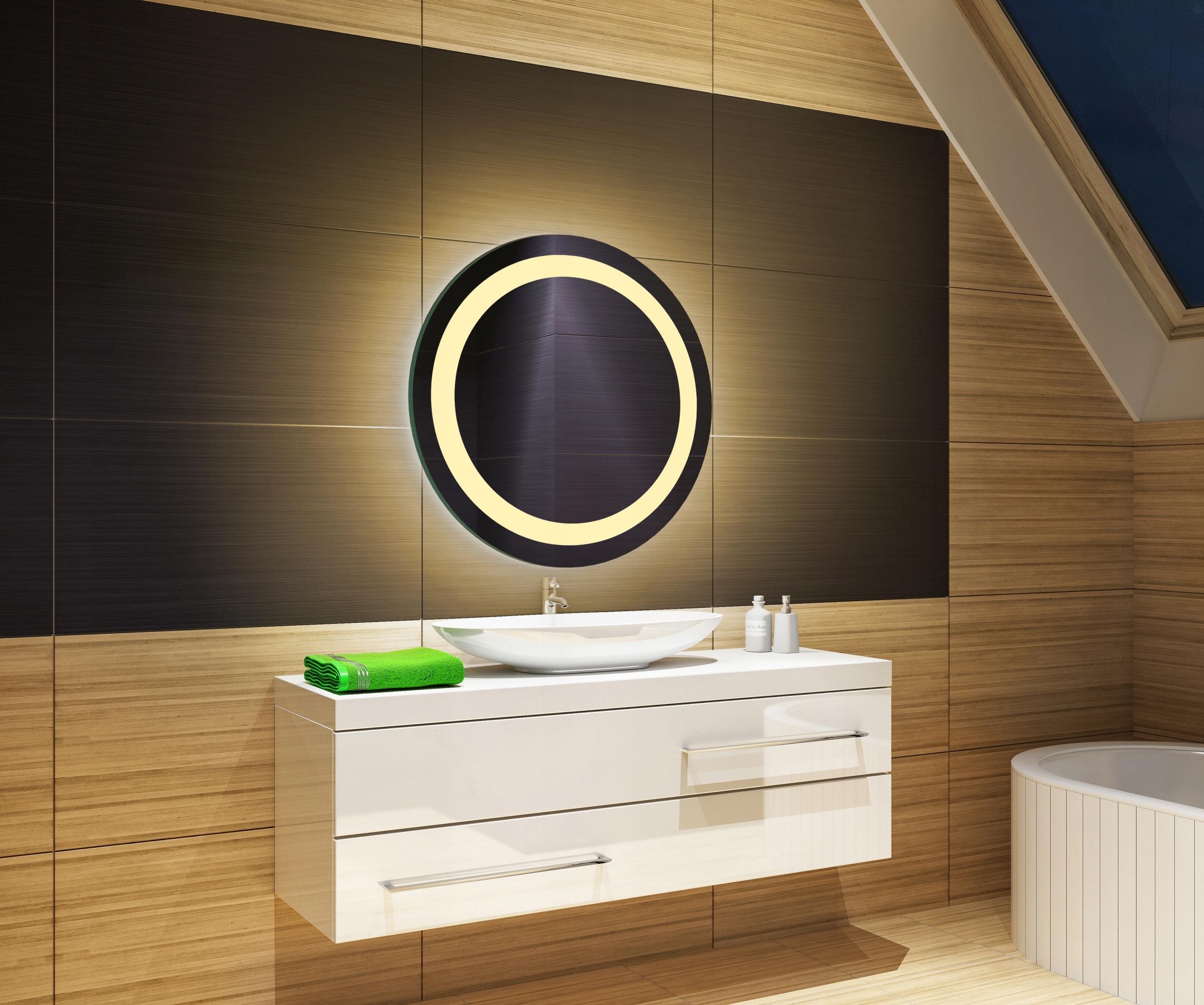 LED zrkadlo 50x50, okrúhle, dotyk teplého bieleho odtieňa