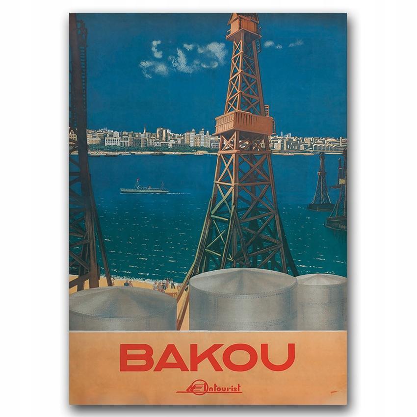 Retro plagát pre azerbajdžanskú obývaciu izbu Bakou A2