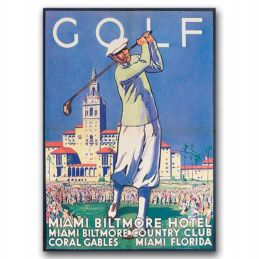 Retro plagát Miami Golf A3 30 x 40 cm