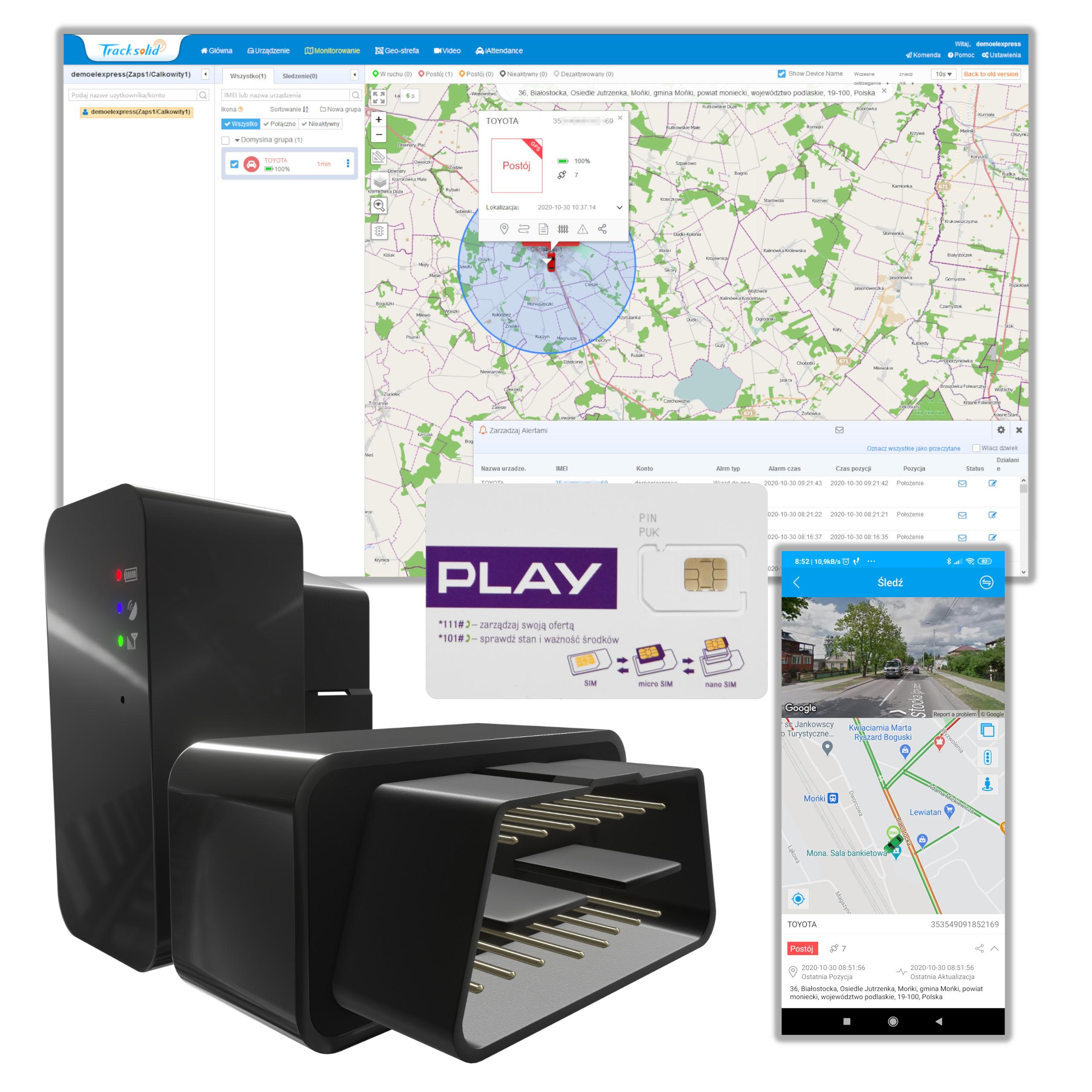 GPS OBD2 LOCATOR POLISH PLATFORM SERVICE + SIM