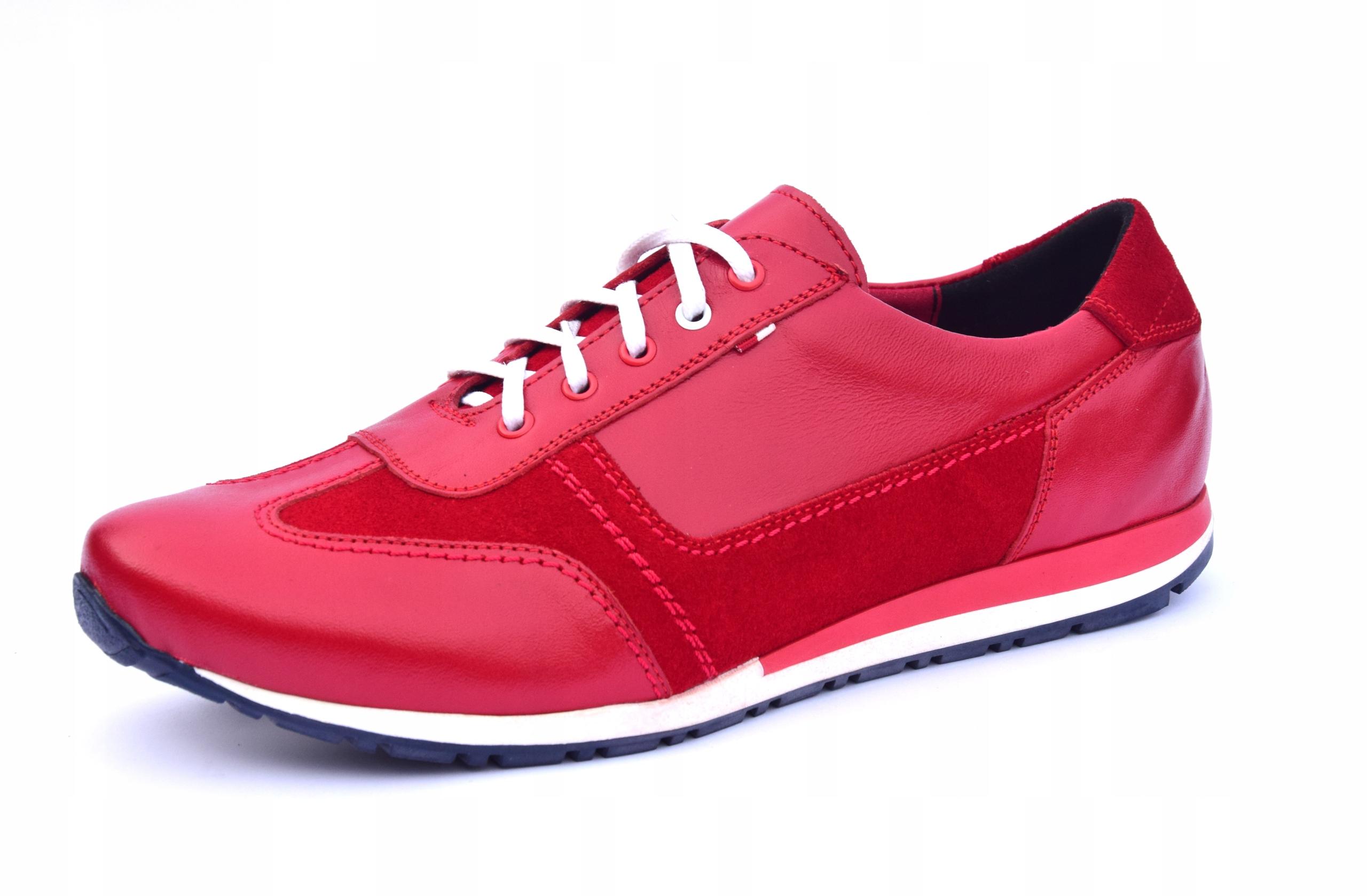 Buty skórzane czerwone obuwie ze skóry PL 294