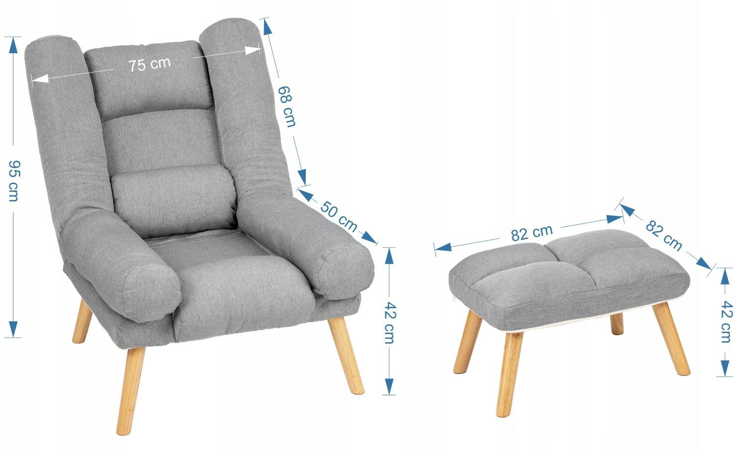 Fotel USZAK styl skandynawski SZARY z podnóżkiem Kolekcja 2020