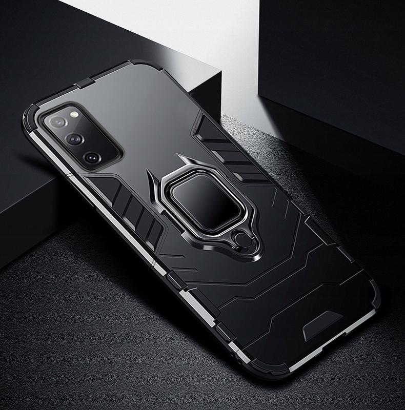 Etui do Samsung Galaxy S20 FE Pancerne Ring Szkło Kolor czarny