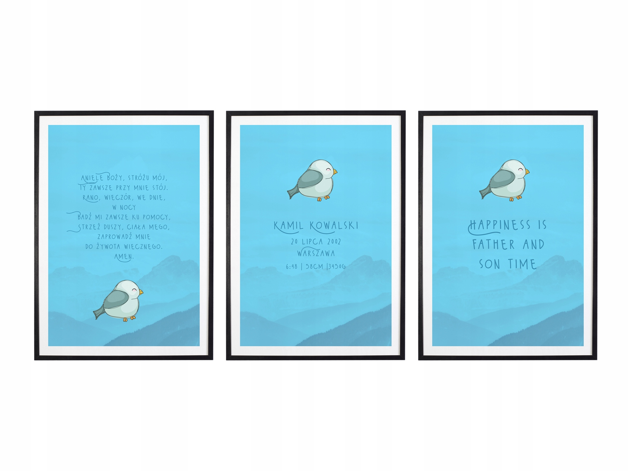Плакат со свидетельством о рождении молитва А3 с рамками триптиха M09