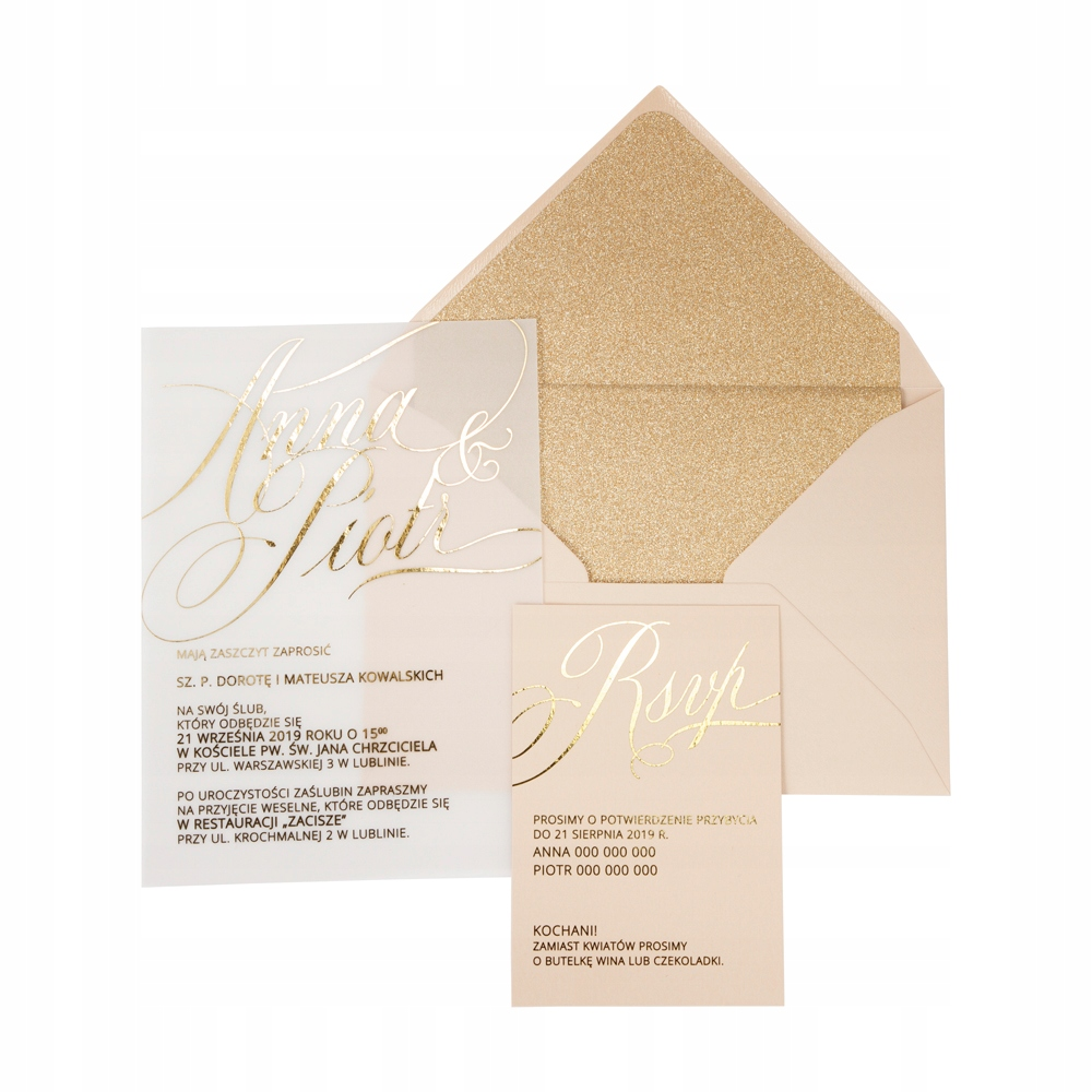 PRÓBNE Zaproszenia ślubne Transparent Gold Shine