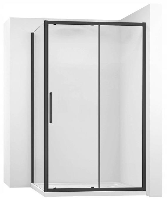 Čierna posuvná sprchová kabína 100x100 Rea