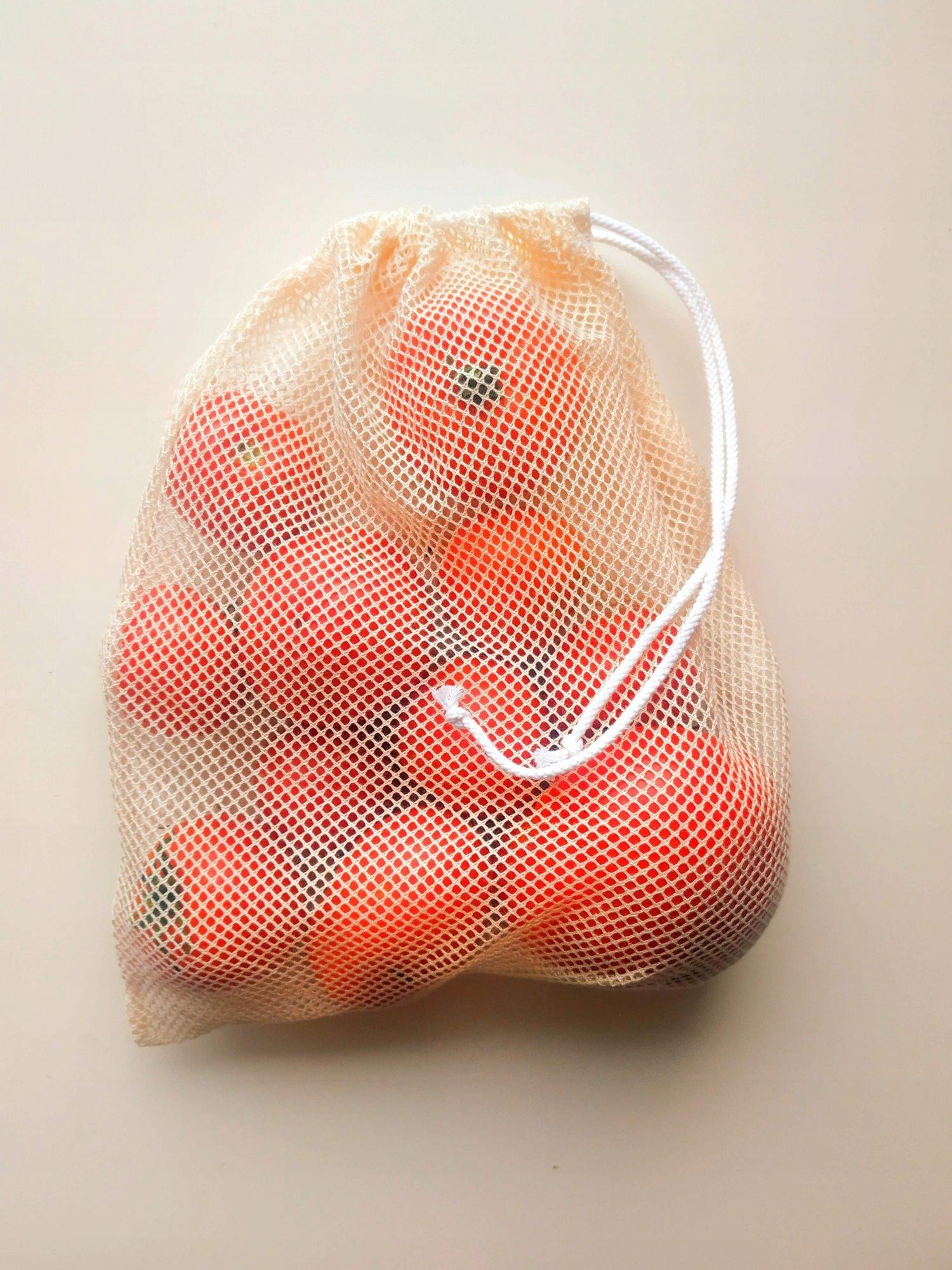 EKO woreczki ZERO WASTE siatki zakupy żywność 6szt Długość 25 cm