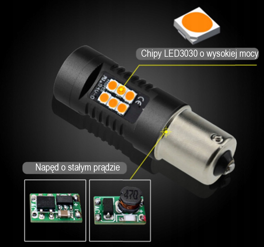 Kierunkowskaz LED Py21W Bau15s P21W - Pomarańcz EAN 123456789012
