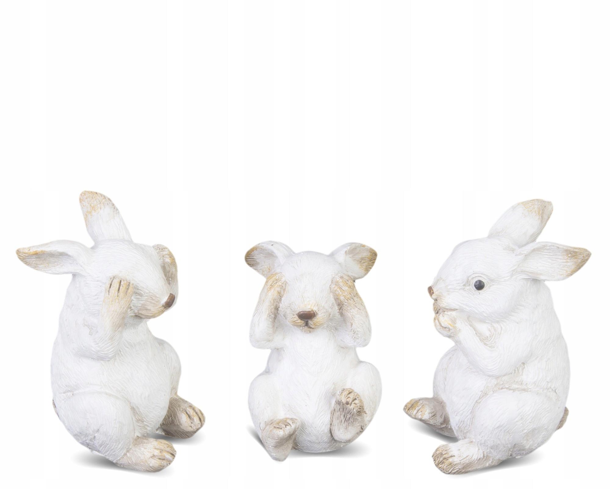 Figurka Królik biały wielkanocny ozdoba 8x4,5cm