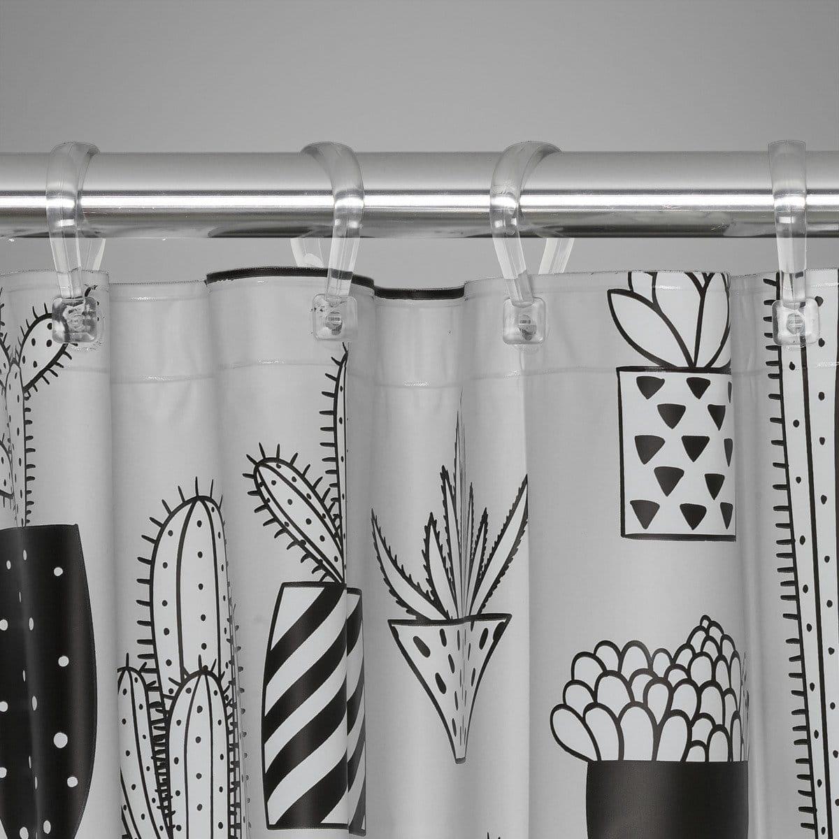 Sealskin Cactus sivý sprchový záves 180x200