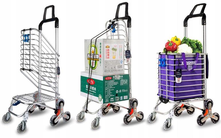 Składany wózek na zakupy 80kg 35L na schody HIGHER Długość 102 cm