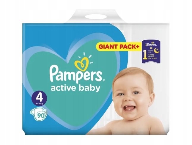 PAMPERS ACTIVE BABY 4 , 9-14 кг, 90 шт МАКСИ