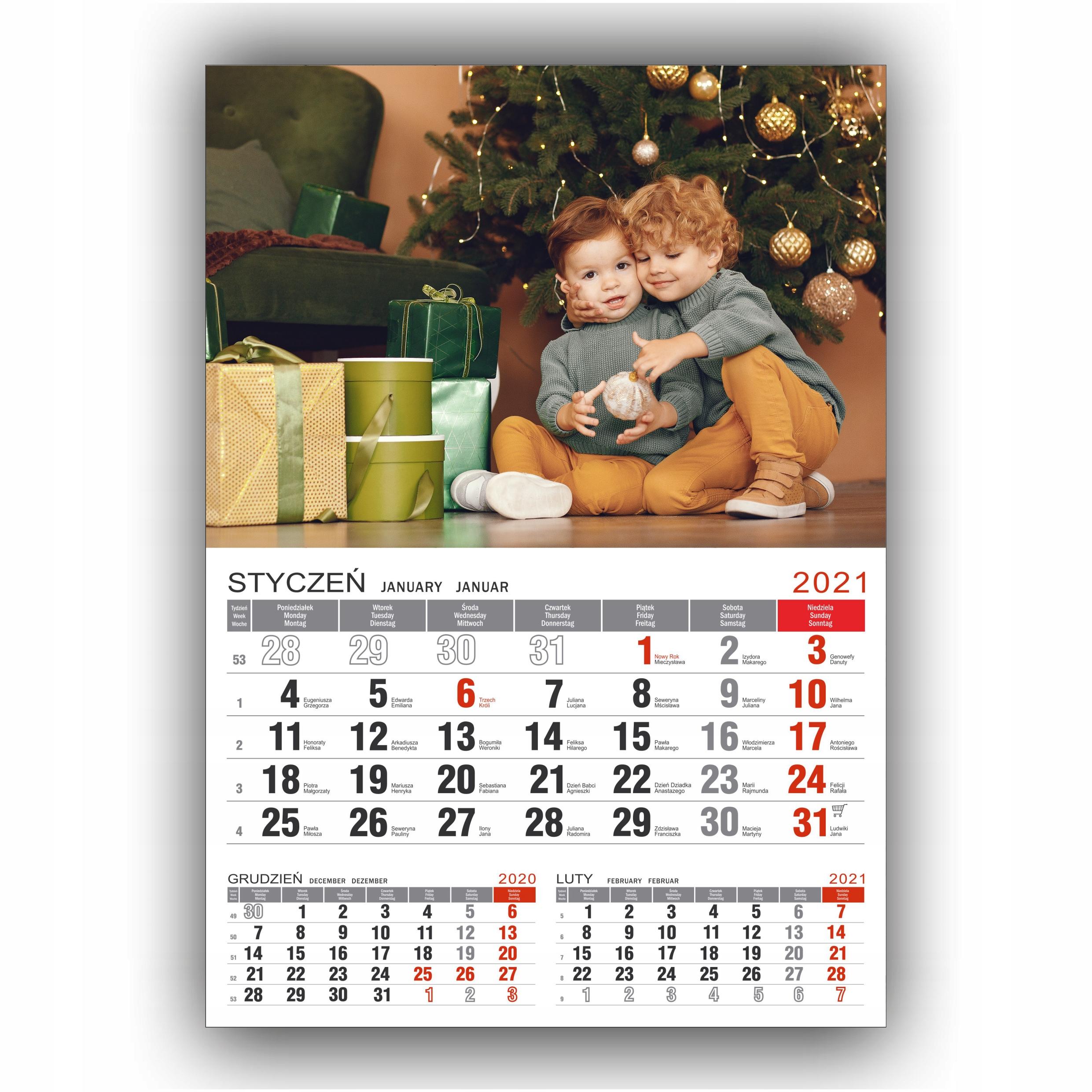 Fotomagnes magnes + kalendarz Fotokalendarz A4