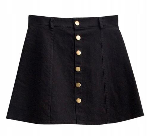 Denim sukne s tlačidlami vintage A-riadok M