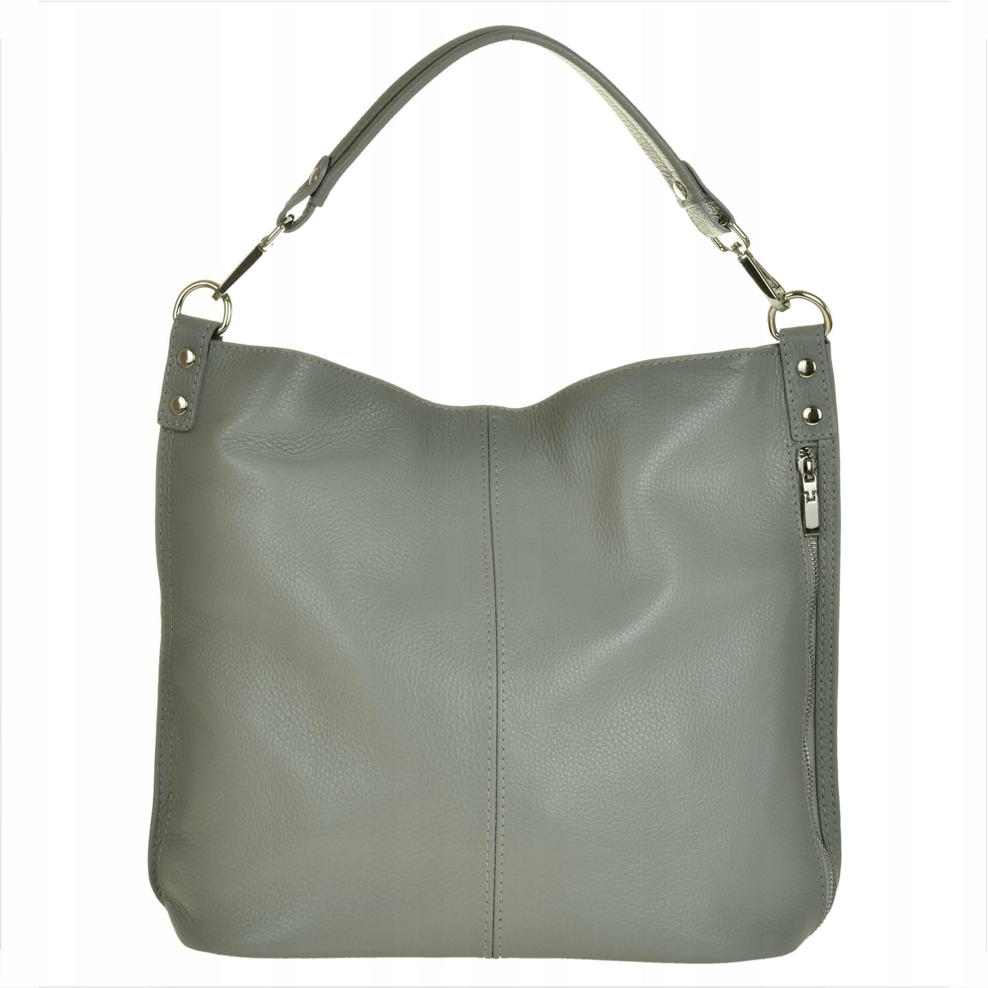 Popielata skórzana torebka typu shopper bag L
