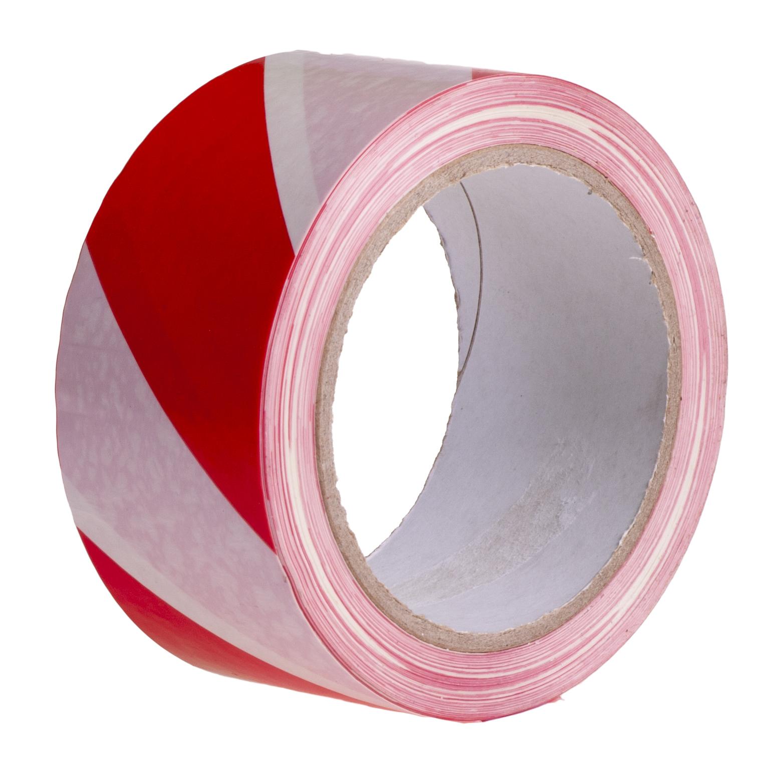 Лента сигнальная, самоклеящаяся, белая, красная, 50x30