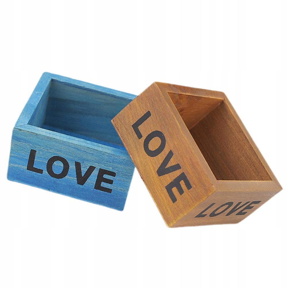 2ks Retro drevený štvorcový držiak úložného boxu
