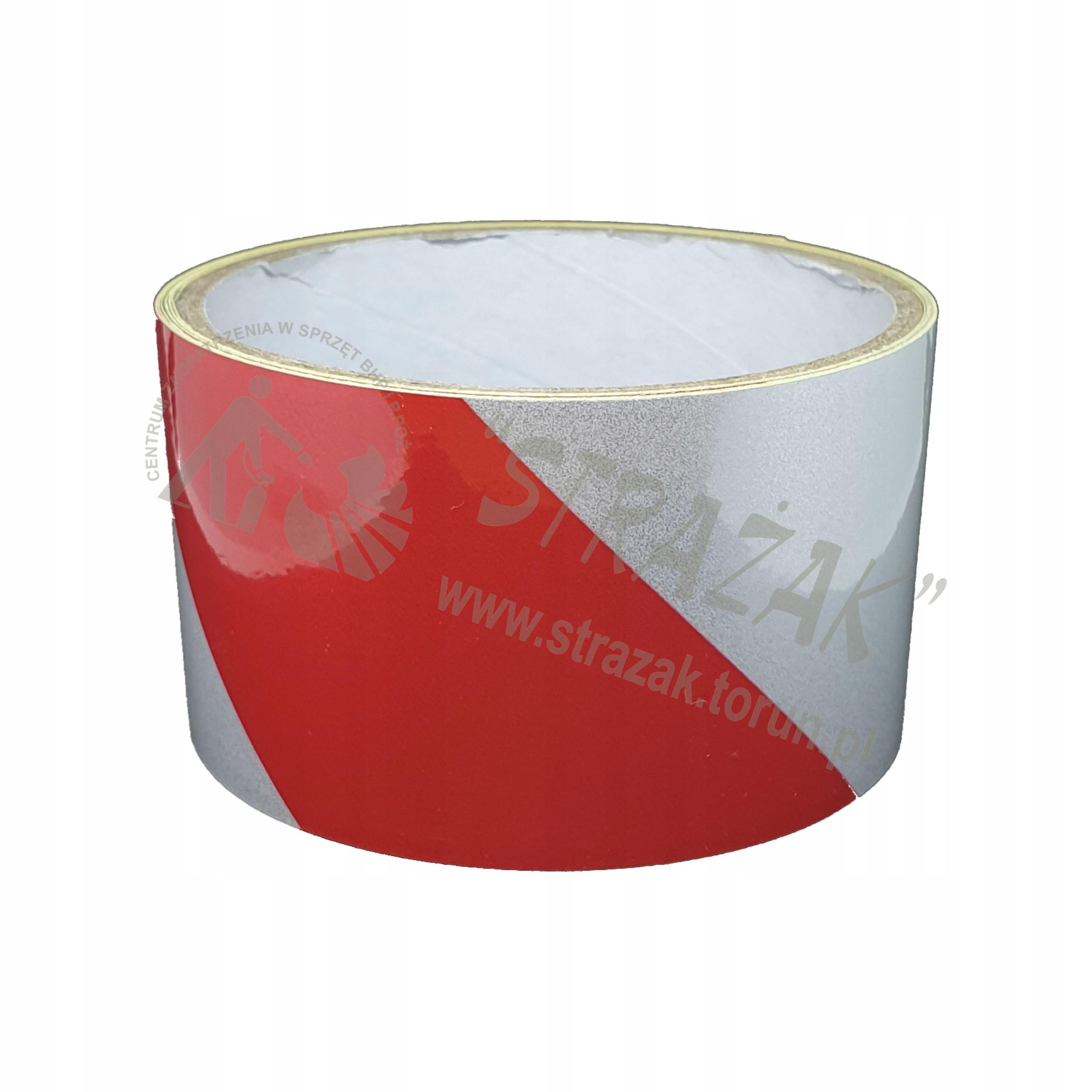 Светоотражающая лента 5cmx5m бело-красная