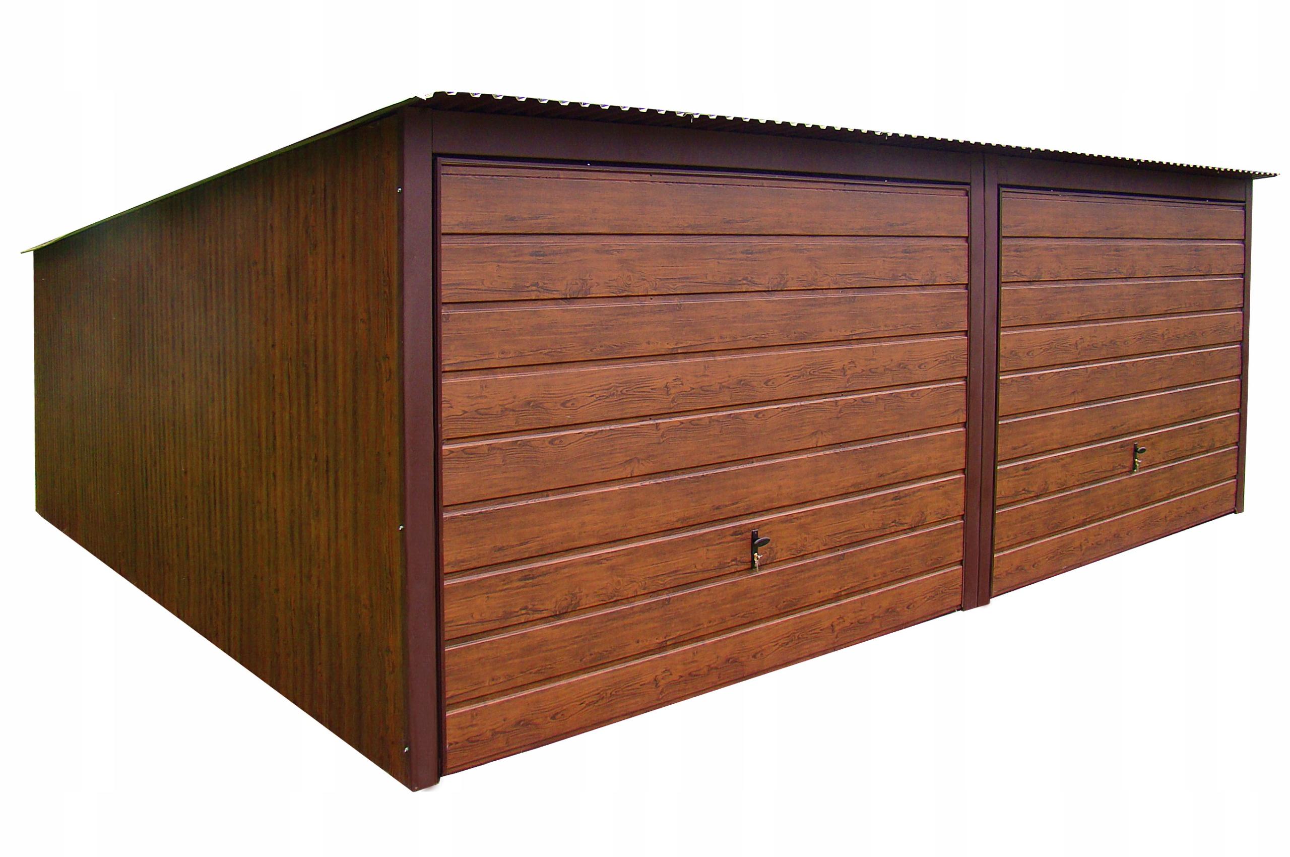 Garaże Blaszane 6x5 Orzech Garaż Drewnopodobny