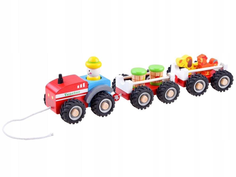 Traktor z przyczepą drewniana Kolejka farma ZA3566 Materiał Drewno