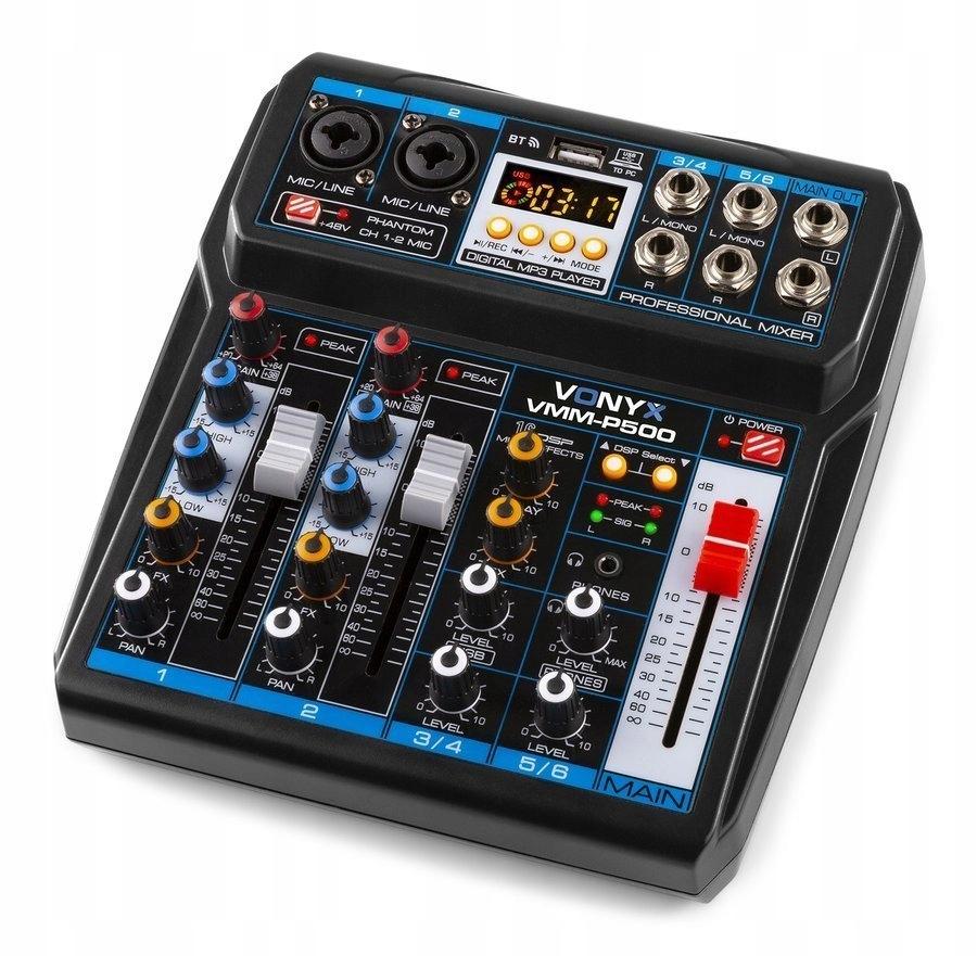 Item Mixer 4 channel DSP, USB, MP3, BT, Vonyx VMM-P500