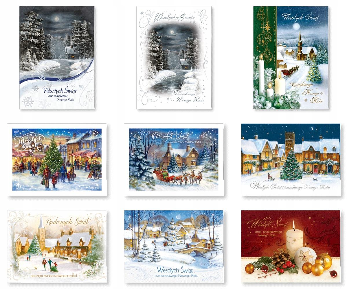 Kartki świąteczne z życzeniami zestaw mix 9szt B1S