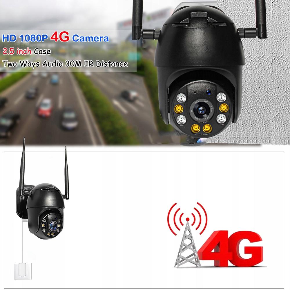 KAMERA 3G 4G GSM LTE OBROTOWA INTERNET Z KARTY SIM Zasięg podczerwieni 60 m